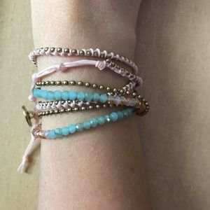 C+I Delicate  Bead+Chain Multi-wrap Bracelet